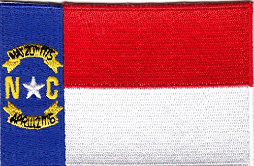 NORTH CAROLINA STATE FLAG - Iron On Embroidered Patch - Flag of North (North Carolina Seal)