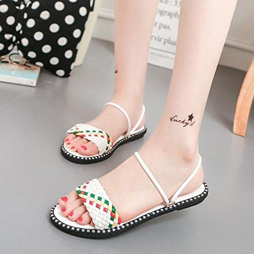 Rcool Dame Summer Schuhe Mixed Color Flat mit Gladiator Sandalen Flop Weiß