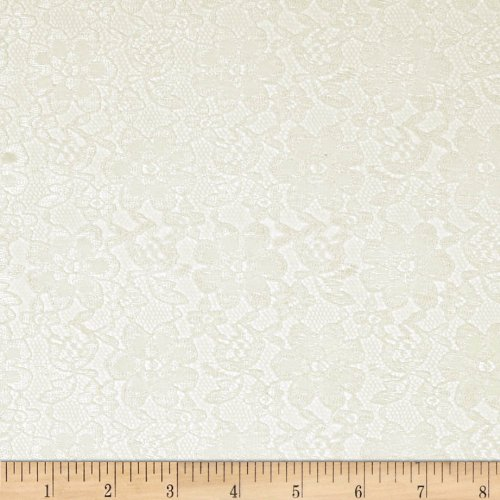 Ben Textiles Raschelle Lace Ivory Fabric by The Yard,