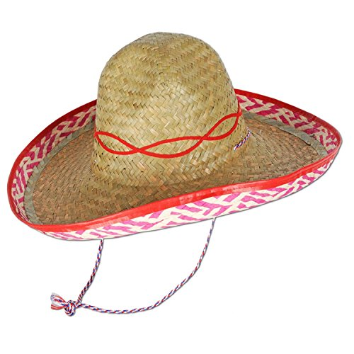 Club Pack of 48 Mexican Fiesta Straw Sombrero Hats by Party Central