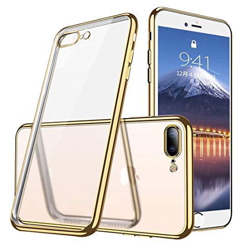 iphone7Plus/iphone8Plusケース透明TPU 防塵 指紋防止 ソフト クリア メッキ加工 Qi 充電 対応 耐衝撃 最軽量 超薄型 一体型 人気 ケース ゴールド