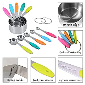 10-piece 18/8 Measuring Cups and Spoons Set, Ejoyous Stainless Steel Kitchen Tool with Silicone Handle Grip for Baking Accessories
