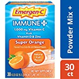 Emergen-C Immune+ (30 Count, Super Orange Flavor) System Support Dietary Supplement Fizzy Drink Mix With Vitamin D, 1000mg Vitamin C plus Antioxidants & Electrolytes, 0.33 Ounce Powder Packets