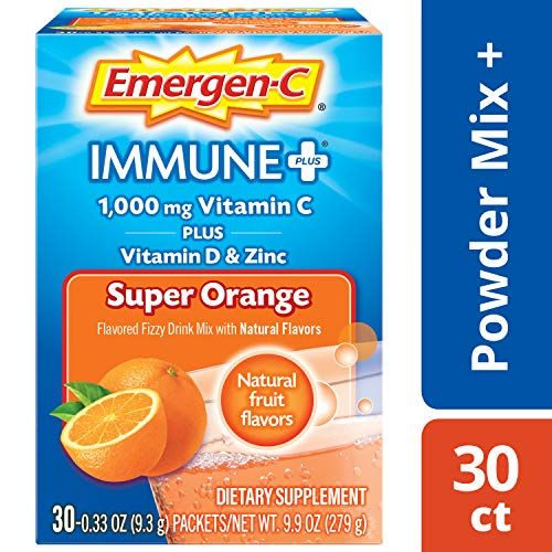 - Emergen-C Immune+ (30 Count, Super Orange Flavor) System Support Dietary Supplement Fizzy Drink Mix With Vitamin D, 1000mg Vitamin C plus Antioxidants & Electrolytes, 0.33 Ounce Powder Packets