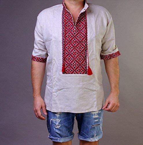 부활절 세일   VYSHYVANKA 망 우크라이나어 수 놓은 셔츠 수제 회색 린넨 짧은 소매 XL 아버지의 날 선물 아이디어