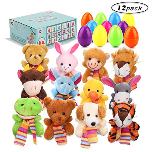 GIGALUMI 12 Pcs Filled Easter Eggs with 2.45'' Animal for Easter Basket Stuffers and Easter Egg Hunt Party Favor for Kids!]()