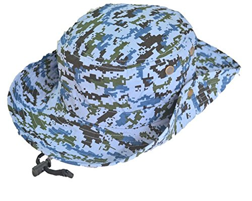 WESIZER Men's Washed Cotton Outdoor Hunting Hat Navy Blue Wide Brim Sun Fishing Jungle Bucket Hat Sun Protection Over 14 Years