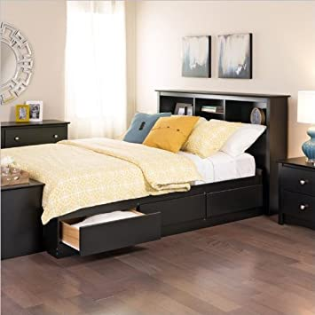 Prepac Sonoma Black Bookcase Platform Storage Bed with Headboard - Twin XL