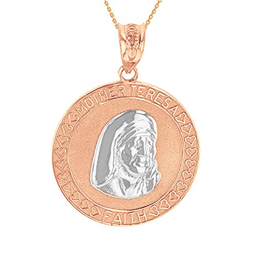 Solid 10k Two-Tone Rose Gold Mother Teresa Of Calcutta Religious Medal Necklace, ()