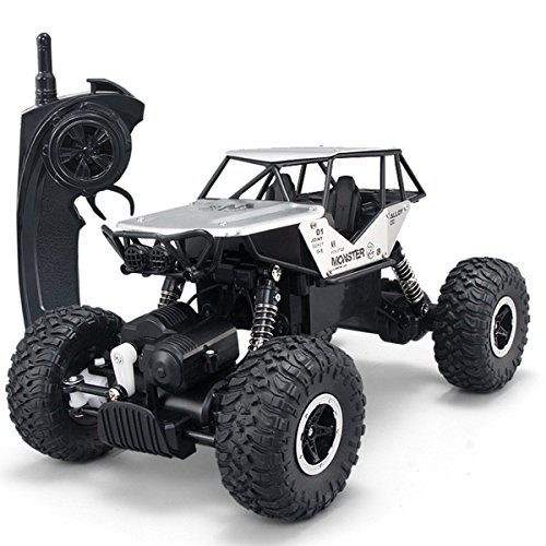 4wd Rc Buggy Truck (SZJJX RC Cars Off-Road Rock Vehicle Crawler Truck 2.4Ghz 4WD High Speed 1:14 Radio Remote Control Racing Cars Electric Fast Race Buggy Hobby Car Silver)