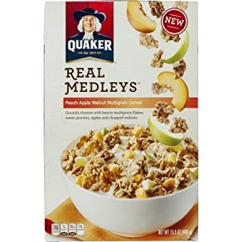 Quaker, Real Medleys Cereal, Peach Apple Walnut, Multigrain, 15.5oz Box (Pack of 4)