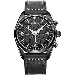 Eterna KonTiki Chronograph 1250.43.41.1308 42mm Ion Plated Stainless Steel Case Black Calfskin Anti-Reflective Sapphire Men's Watch