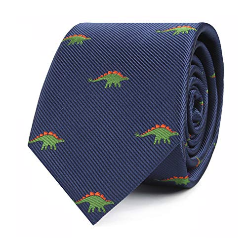 Animal Ties | Woven Skinny Neckties | Gift for Men | Work Ties for Him | Birthday Gift for Guys (Stegosaurus)