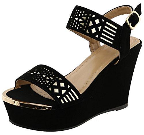 Best Black High Platform Wedge Heel Open Toe Ladies Sandal Faux Leather Cut Out Slide Elegant New Prime Trendy Cute Slide Shoe College Graduation Gift Idea for Sale Senior Teen - Heels Black Leather Sandals Ladies