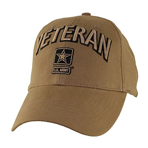 U.S. Army Veteran Baseball Hat, Coyote Brown (Cap Insignia Veteran)