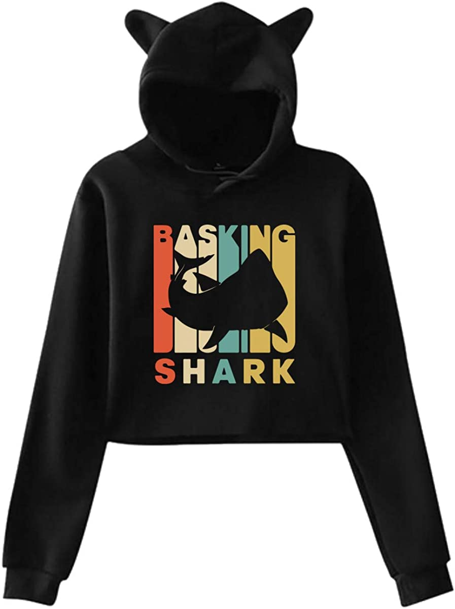 Vintage Style Basking Shark Silhouette Cat Ear/Unicorn Cropped Pullover Fleece for Women Teen Girls