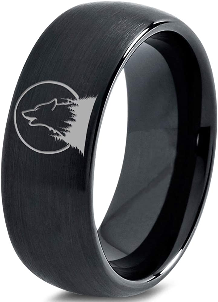 Spasm price Howl at The OFFicial store Moon Wolf Wild Soul 8mm - Tungsten Band Ring Men