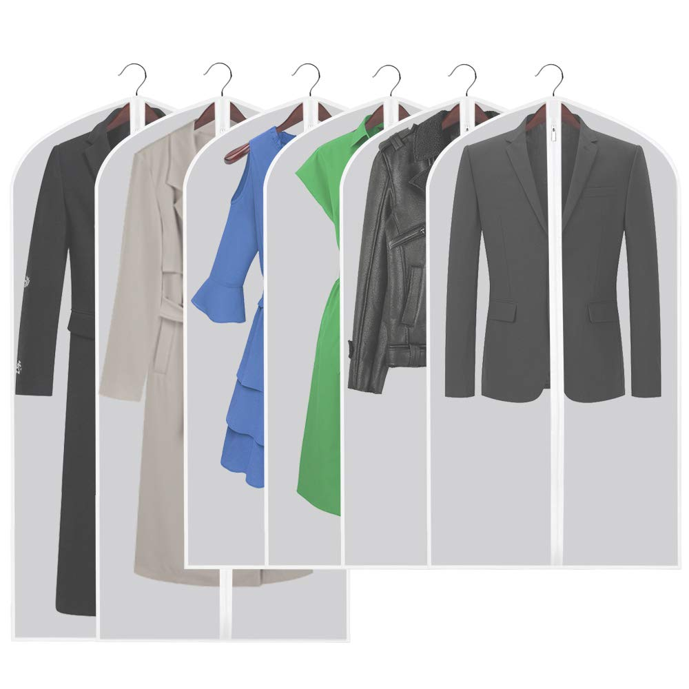Etmury Garment Bags 6 Pack PEVA Clear Hanging Clothes bag for Clothing Suits or Dresses Closet Storage and Travel with Full Zipper Translucent Moth-Proof(24'' x 43 ''/ 50'') by Etmury (Image #1)