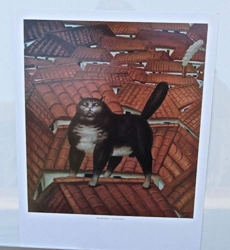 Fernando Botero Cat on a Roof Poster Print 14X11 Offset Lithograph