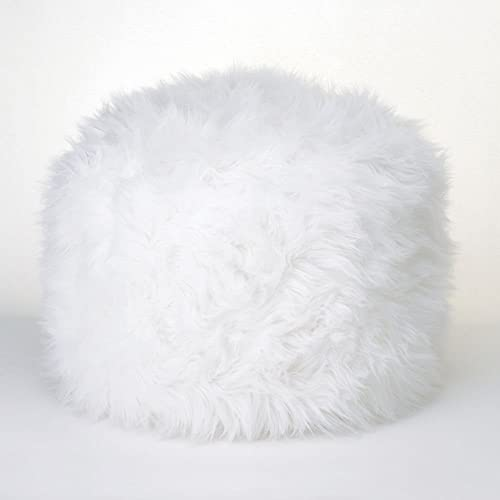 Footstool Accessory Soft Fuzzy White Ottoman Polyester and Polystyrene Footstool Pouf