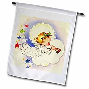 TNMPastPerfect Christmas - Angel Blowing Horn - 12 x 18 inch Garden Flag (fl_48531_1)