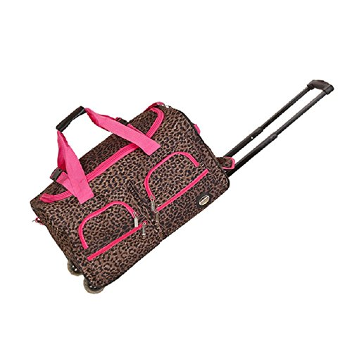 Pink Girls Leopard Theme Carry On Rolling Duffle Bag, Bea...