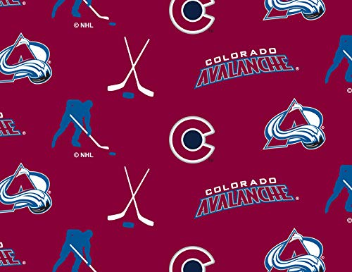 Colorado Avalanche Fleece Blanket Fabric All Over Design-Sold by The Yard - Fleece Colorado Avalanche Blanket