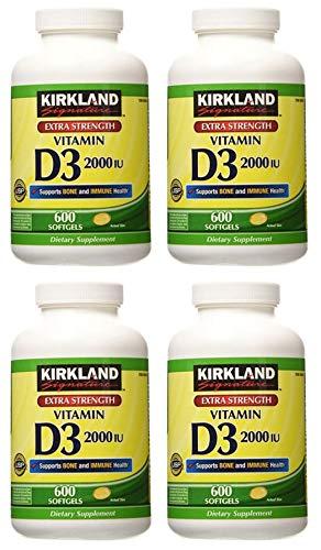Kirkland Signature MNJHG Maximum Strength Vitamin D3 2000 I.U. 600 Softgels, Bottle Personal Healthcare/Health Care 4 Pack