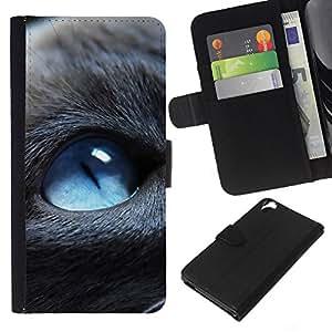 KLONGSHOP // Tirón de la caja Cartera de cuero con ranuras para tarjetas - Blue Eyed Cat - HTC Desire 820 //