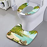 Leighhome Toilet Cushion Suit Tropical with Coconut Palm Trees and Rocks Journey Coastal Design Aqua Green Non Slip Comfortable