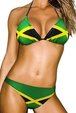 Jamaica Caribbean Swimwear Ecolore Bikini Fashion Swimsuit Women's Flag bg7yf6