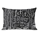 One Bella Casa 13414PL42 ''Let it Snow Woods'' Pillow by Lily & Val, Gray/White