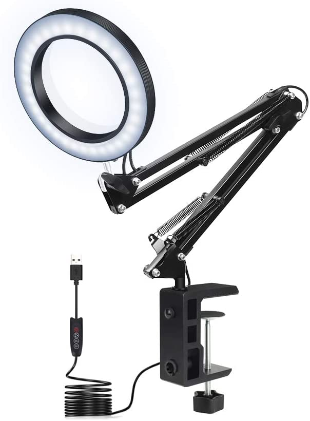 Amazon Com Led Magnifying Lamp With Clamp Newacalox Dimmable Super Bright 3 Colors Illuminated Magnifier Lamps 5x Magnifier Glass Light Lens Adjustable Swivel Arm Lamp For Table Craft Or Workbench Short Home Improvement