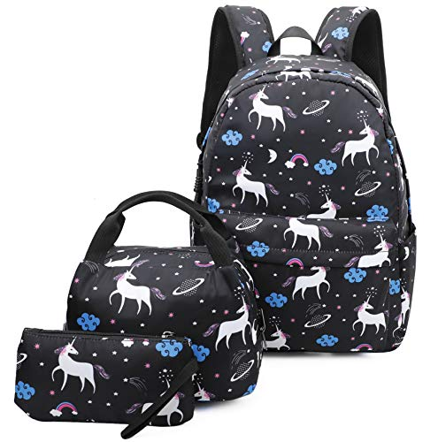 Ulgoo Unicorn Girls School Bags Kids Bookbags Teens Bookbag Set Kids Laptop Backpack Lunch Box Purse (8847 Black)