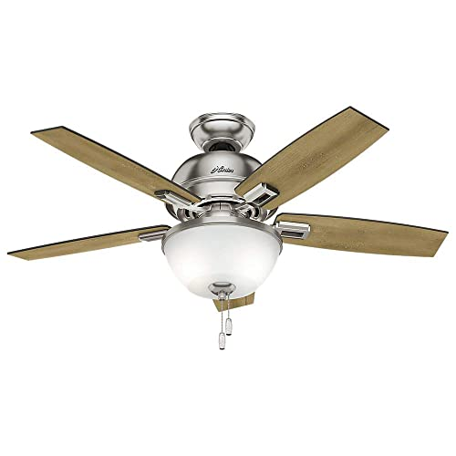 Hunter Indoor Ceiling Fan with light and pull chain control – Donegan 44 inch, Brushed Nickel, 52227