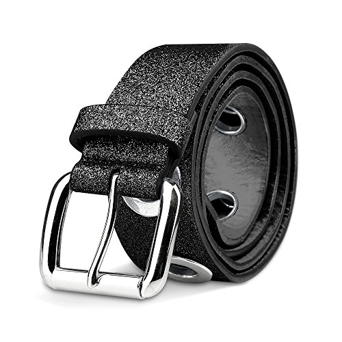 Women Big Grommet Sparkly Frosted Faux Leather Skinny Glitter Belts with Pin Buckle for Jeans (Black, S)