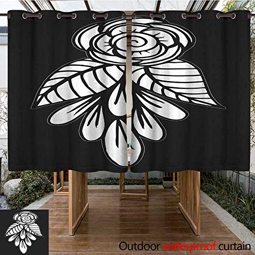 RenteriaDecor Outdoor Curtains for Patio Sheer Hand Drawn Fantasy Flowers Coloring Page Illustration Batik Abstract Adult Animal Markings Boho W55 x L72 -