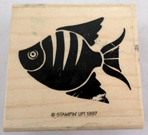 Stampin Up 1997 Aquarium Salt Water Fish Angel Tropical Wooden Rubber Stamp