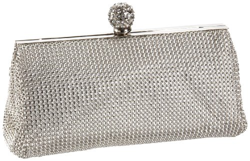Whiting & Davis Dimple Mesh Framed Clutch,Silver,one size by Whiting & Davis