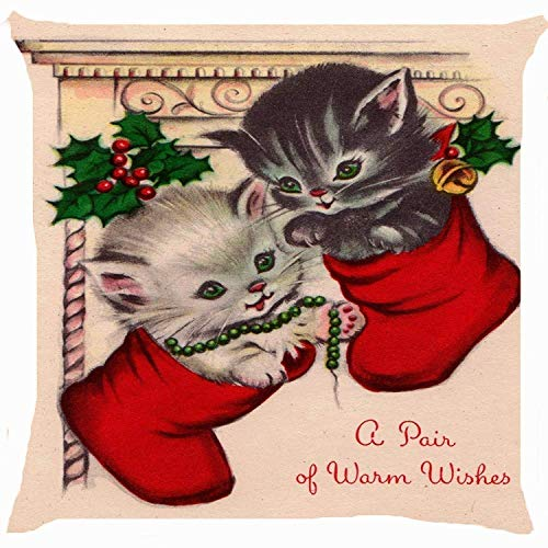 Retro Vintage Cat Kitten Pair Merry Christmas Sock Stocking Cute Kitty Pet Warm Wishes 18 x 18 Inches