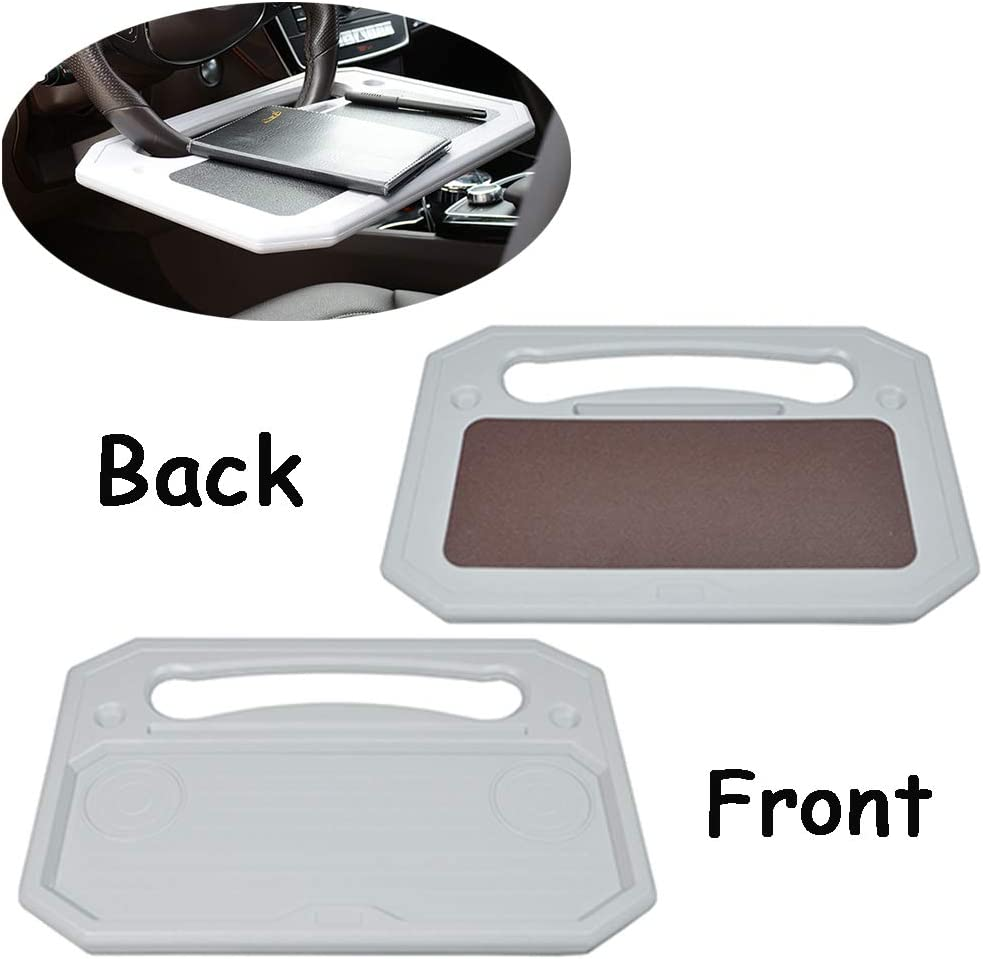Auto Steering Wheel Desk,Available on both sides Car Laptop Desk,Multi-Functional Portable iPad,Notebook Car Travel Table,Food Steering Wheel Tray For Most Vehicles Steering Wheels,Best gift (Gray)