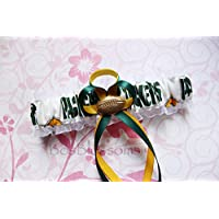 Customizable - Green Bay Packers white print fabric handmade into bridal prom white organza wedding garter with football charm