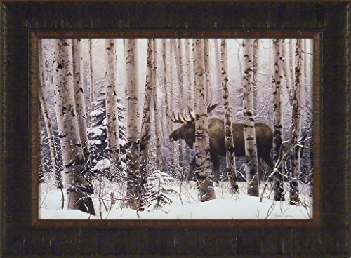 A Walk In The Woods by Stephen Lyman 17x23 Moose Trees Snow Winter Framed Art Print Picture (Moose Winter)