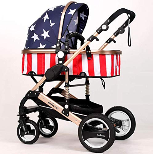 ZLMI Baby Carriage High Landscape Ultra-Light Portable Folding Can Sit/Recline Two-Way Baby Stroller Suitable for 0-3 Years Old bb Car,E