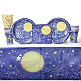 To the Moon and Back Party Supplies Pack for 16 Guests | Paper Straws, 16 Paper Dinner Plates, 16 Paper Luncheon Napkins, 16 Paper Cups, and Table Cover | Nursery Rhymes Baby Shower Party Supplies Set