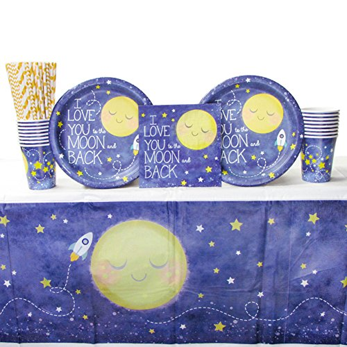 Cedar Crate Market to The Moon Back Party Supply Pack 16 Guests: Straws, Dinner Plates, Luncheon Napkins, Cups Tablecover (Bundle -
