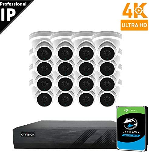 CTVISION UltraHD 4K 8MP 4X1080P Home Business Security Camera Systems,16-Channel PoE Video Security System 4TB HDD ,16pcs Outdoor Weatherproof Nightvision 90 Viewing Angle Turret Dome PoE IP Camera