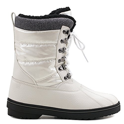 and Men's Shenji Snow Winter Mid Calf Women's Shoes Lace up Couple White H7625 Boots BgXIqrSX