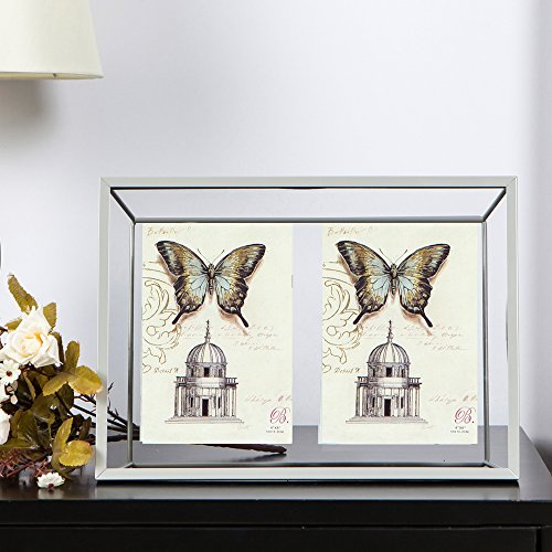Shaco Mental Picture Frame, Display Two 4x6 Inch Pictures with Glass - Geometric Frames Glasses