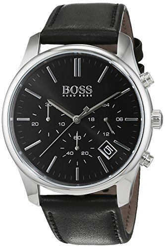 Hugo Boss Men's 1513430 Silver Leather Quartz Watch